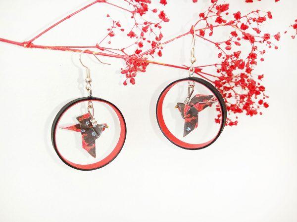 Boucles d'oreilles DIY Origami Créoles colombes grises et rouges