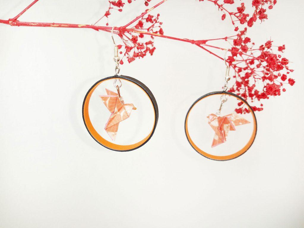 Boucles d'oreilles DIY Origami Créoles colombes oranges