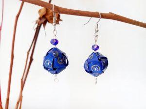 Boucles d'oreilles DIY Origami Cubes tressés bleus