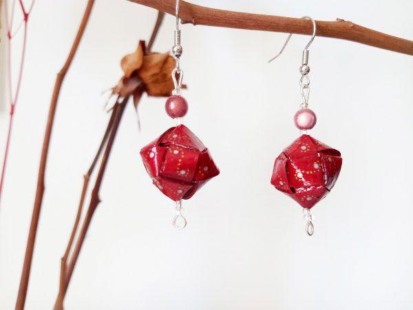 Boucles d'oreilles DIY Origami Cubes tressés rouges
