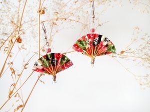 Boucles d'oreilles DIY Origami Eventails rouges verts