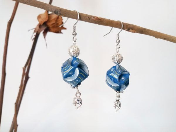Boucles d'oreilles DIY Origami Globes bleus