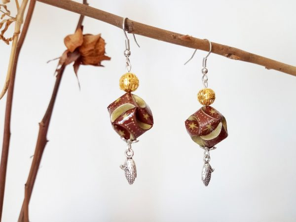 Boucles d'oreilles DIY Origami Globes marrons