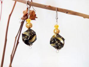 Boucles d'oreilles DIY Origami - Globes noirs or