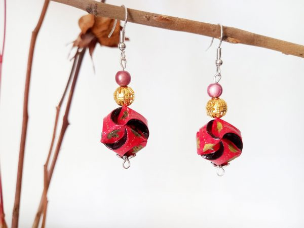 Boucles d'oreilles DIY Origami Globes rouges