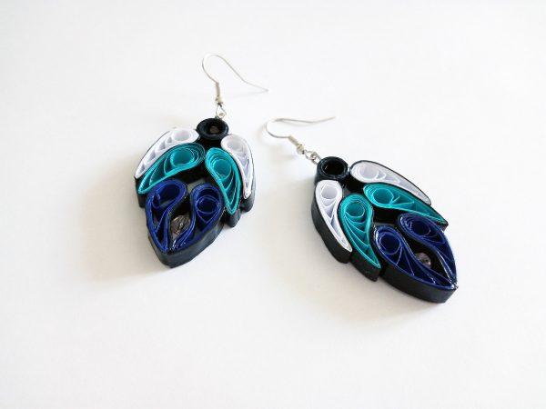 Boucles d'oreilles DIY Quilling Ailes d'anges bleues