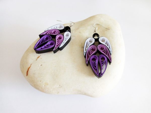 Boucles d'oreilles DIY Quilling Ailes d'anges violettes