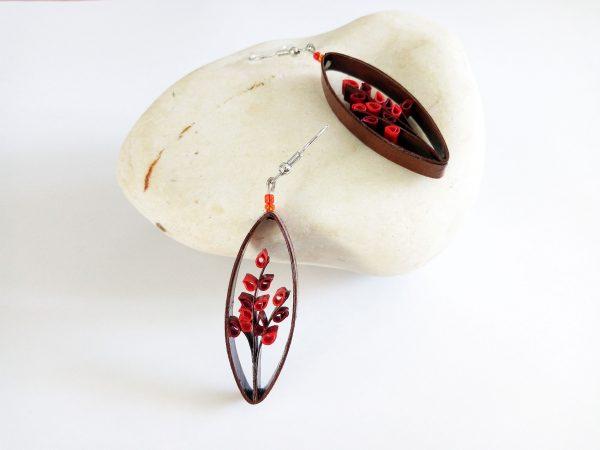 Boucles d'oreilles DIY Quilling Arbustes rouges