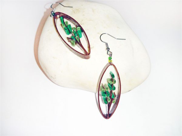 Boucles-d'oreilles DIY Quilling Arbustes verts