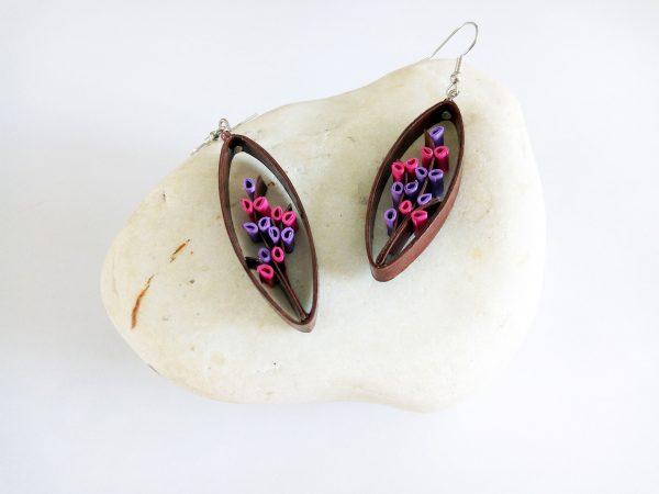 Boucles d'oreilles DIY Quilling Arbustes violets