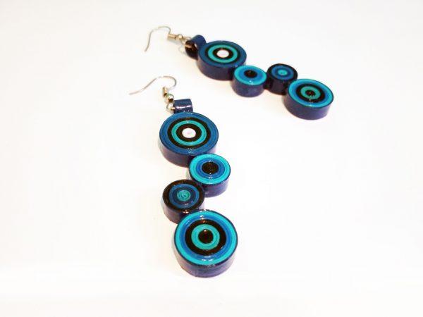 Boucles d'oreilles DIY Quilling Cercles bleus