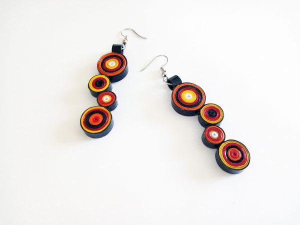 Boucles d'oreilles DIY Quilling Cercles rouges