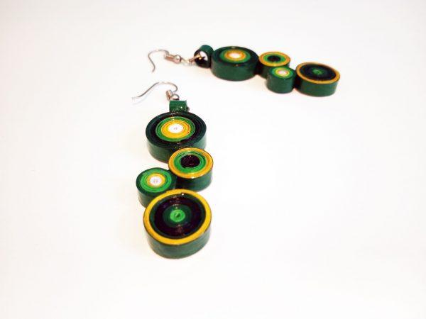 Boucles d'oreilles DIY Quilling Cercles verts