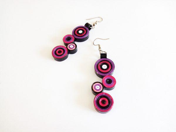 Boucles d'oreilles DIY Quilling Cercles violets