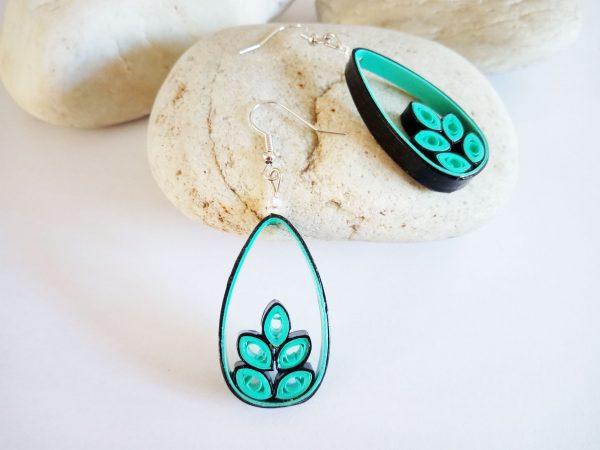 Boucles d'oreilles DIY Quilling Créoles Gouttes végétales turquoises