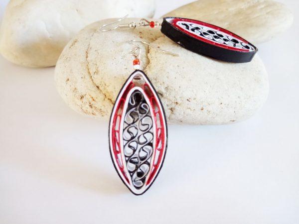 Boucles d'oreilles DIY Quilling Les emmêlés rouges