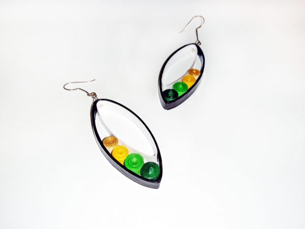 Boucles d'oreilles DIY Quilling Ovales verts