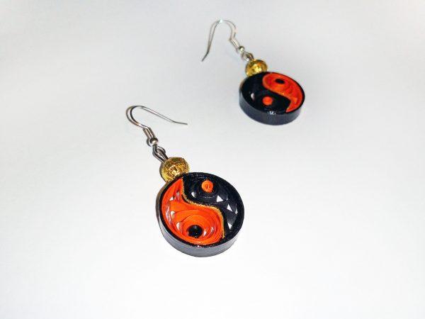 Boucles d'oreilles DIY Quilling Yin yang oranges