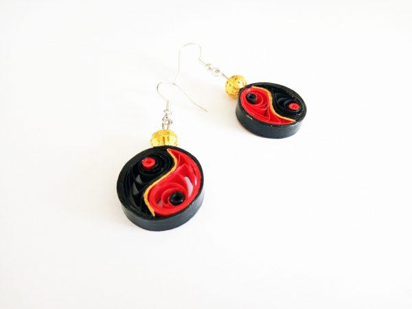 Boucles d'oreilles DIY Quilling Yin yang rouges