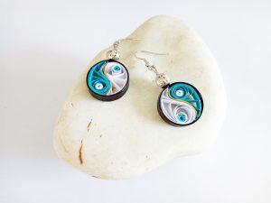 Boucles d'oreilles DIY Quilling Yin yang turquoises