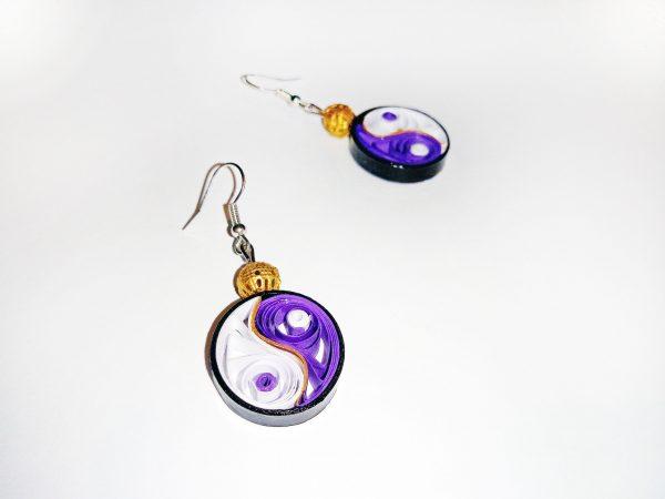 Boucles d'oreilles DIY Quilling Yin yang violets