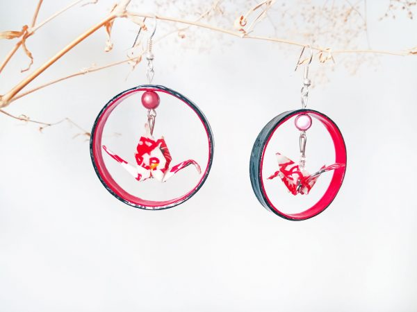 Boucles d'oreilles Origami - Creoles Grues rouges