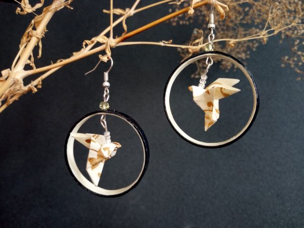 Boucles d'oreilles Origami - Creoles colombes blanches