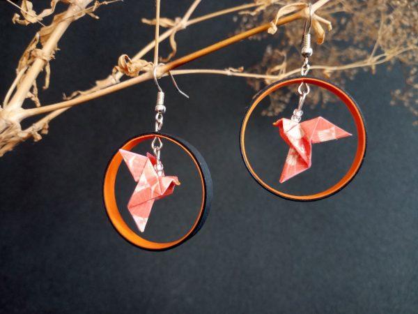Boucles d'oreilles Origami - Creoles colombes oranges