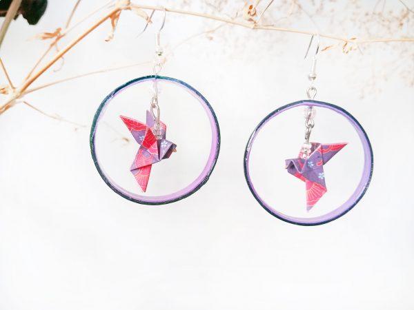 Boucles d'oreilles Origami - Creoles colombes violettes