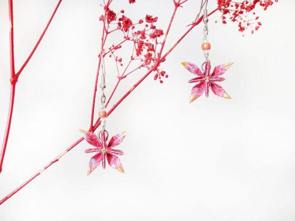 Boucles d'oreilles Origami - Fleurs etoiles roses
