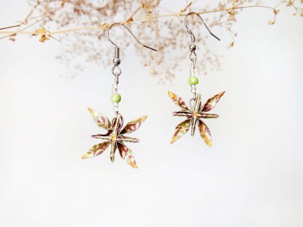 Boucles d'oreilles Origami - Fleurs etoiles vertes kaki