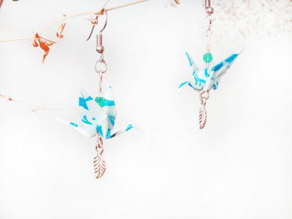 Boucles d'oreilles Origami - Grues bleues claires