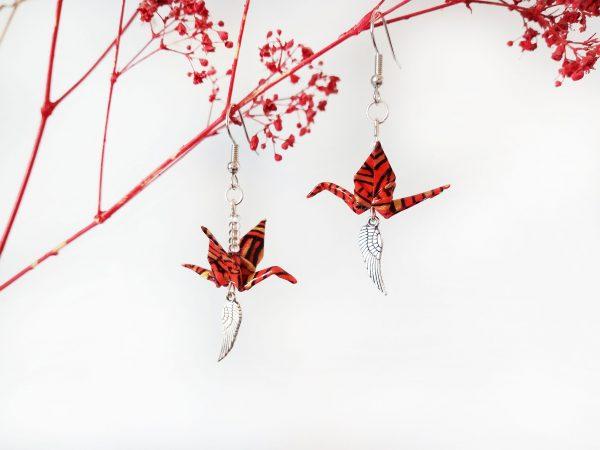 Boucles d'oreilles Origami - Grues rouges noires