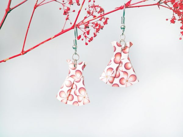 Boucles d'oreilles Origami - Robes roses