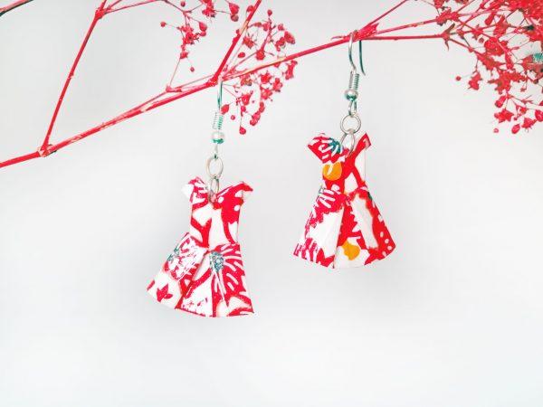 Boucles d'oreilles Origami - Robes rouges