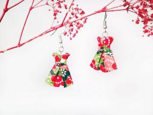 Boucles d'oreilles Origami - Robes rouges vertes