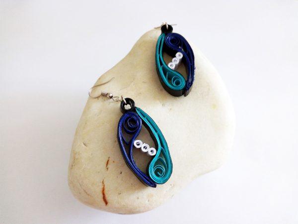 Boucles d'oreilles Quilling - Vagues enlacées bleu