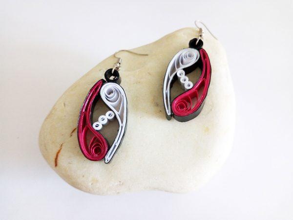 Boucles d'oreilles Quilling - Vagues enlacées roses