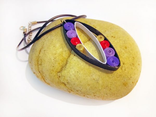 Collier Quilling - Les ovales violets