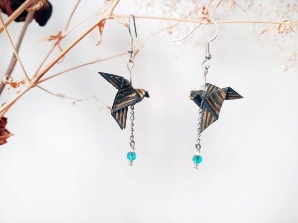 Boucles d'oreilles Origami - Creoles colombes noires dorees