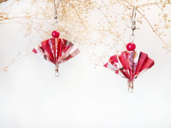 Boucles d'oreilles Origami - Eventails roses