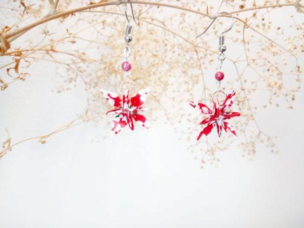 Boucles d'oreilles Origami - Fleurs etoiles rouges