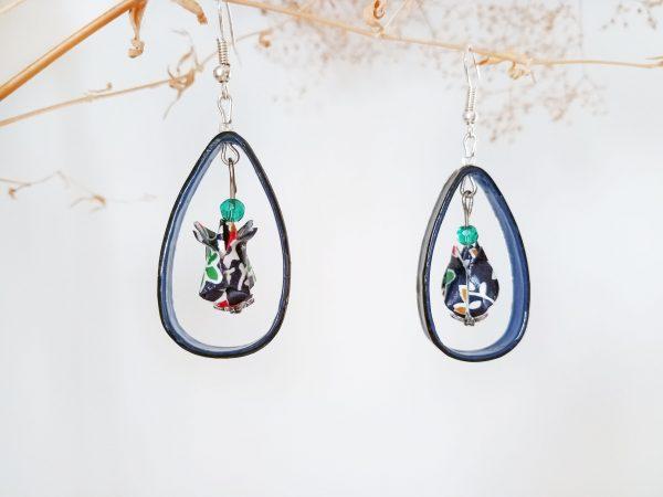 Boucles d'oreilles Origami - Creoles lotus bleues
