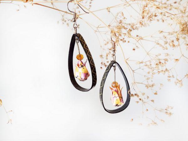 Boucles d'oreilles Origami - Creoles lotus jaunes