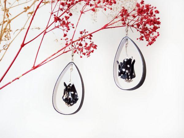 Boucles d'oreilles Origami - Creoles lotus noirs