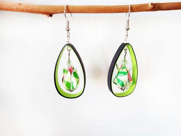 Boucles d'oreilles Origami - Creoles lotus verts