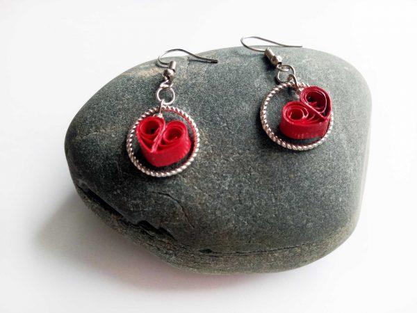 Boucles d'oreilles Quilling - Coeur St-Valentin