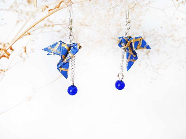 Boucles d'oreilles Origami - Colombes bleues