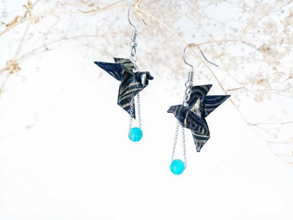 Boucles d'oreilles Origami - Colombes noires