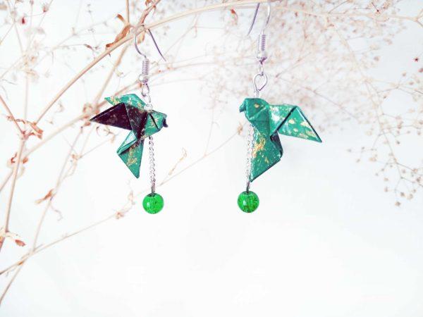 Boucles d'oreilles Origami - Colombes vertes